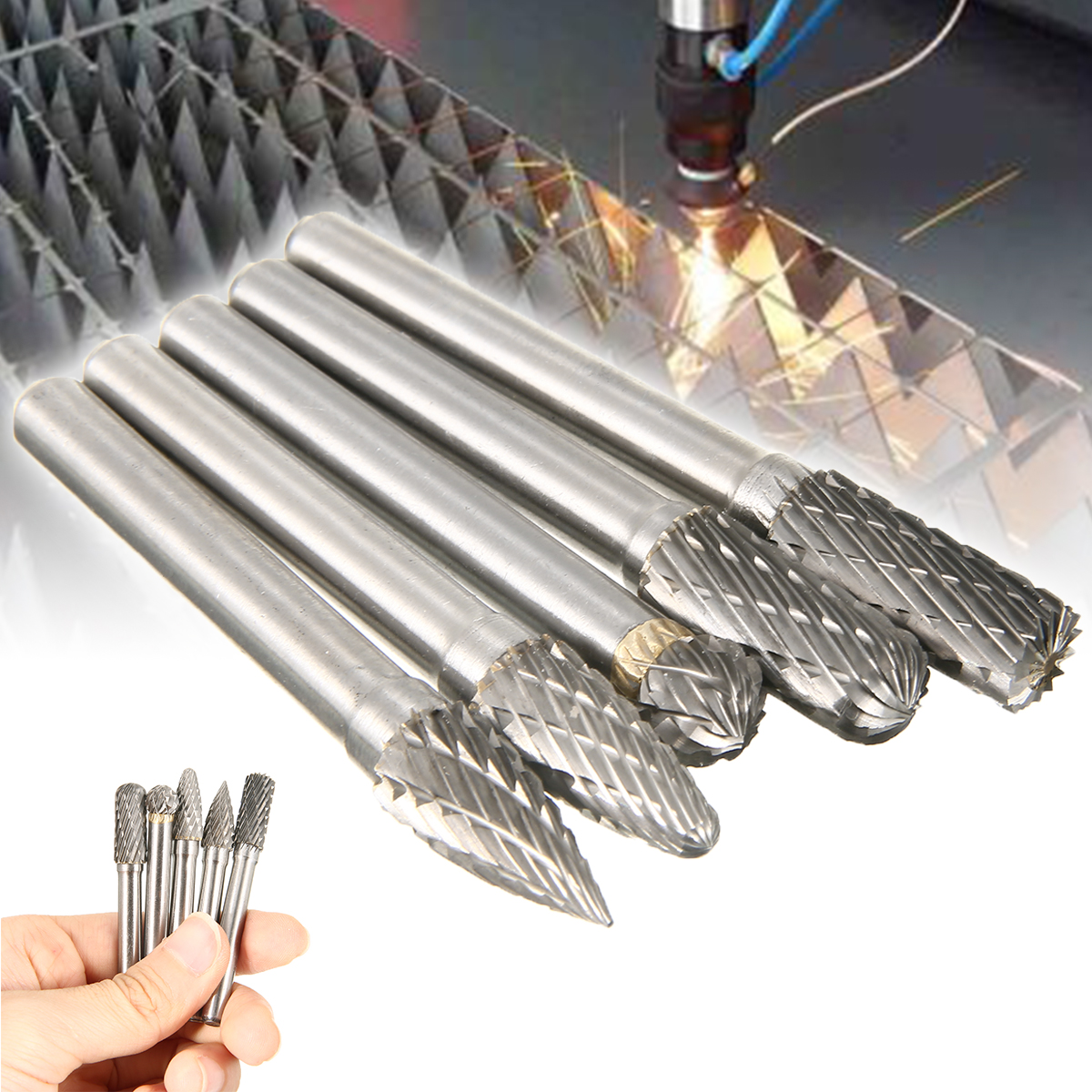 New 5pcs Tungsten Carbide 8mm Rotary Point Burrs Electric Grinder 6mm Shank Bits Set For Finishing Metal Molds Processing