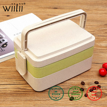 3 Layers Food Box For Fruit Bento Container Rectangle Wheat Straw Portable Kitchen Tools Set
