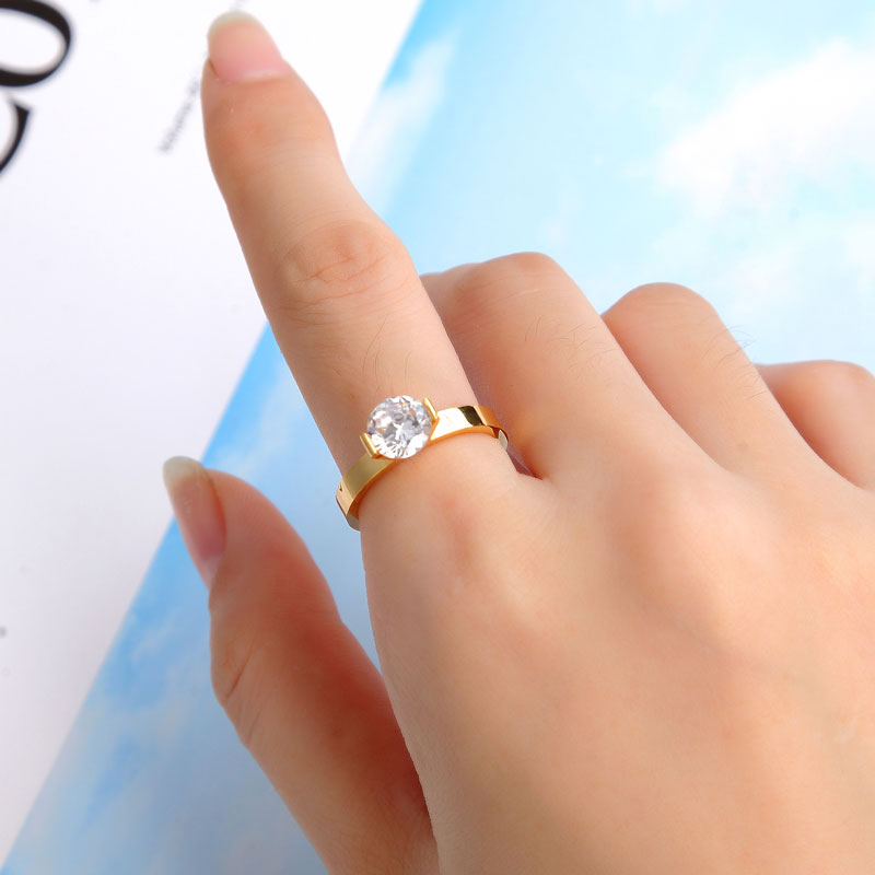 Hot 1 Carat Shiny Crystal Ring For Wedding Titanium Steel Top Quality Gold Color Jewelry Love Gift Woman Ring Wholesale 5