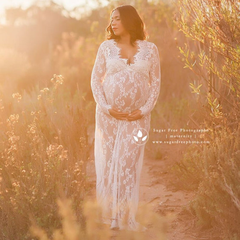 Pregnancy Dress For Photo Shoot Maternity Photography Props Sexy V Neck Lace Maxi Gown Dress Plus Size Pregnant Women Clothes