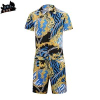 AC&DBZ Fashion Brand New Women's Chiffon Jumpsuit Men's and Women's Printed One Piece Beach Party Casual Siamese Shorts