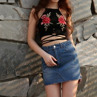 New 2017 Women Spaghetti Strap Short Camis Sexy Ladies Off Shoulder Embroidery Patchwork Bandage Hollow Out Top Tees Crop Top