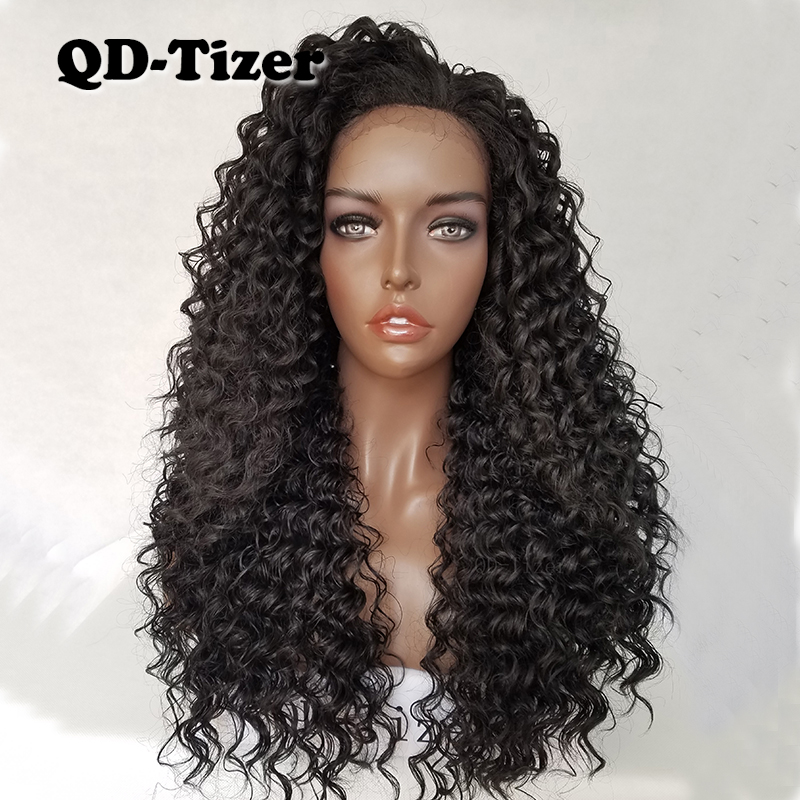 QD Tizer Kinky Curly Hair Lace Front Wigs Black Color Long Curl Wigs Heat Resistant Synthetic