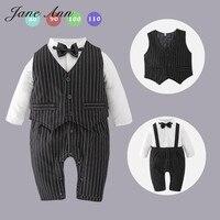 Baby Boy Clothing Gentlemen Wedding Clothes Black Striped Bow Tie Full Sleeves Winter Romper Vest Set