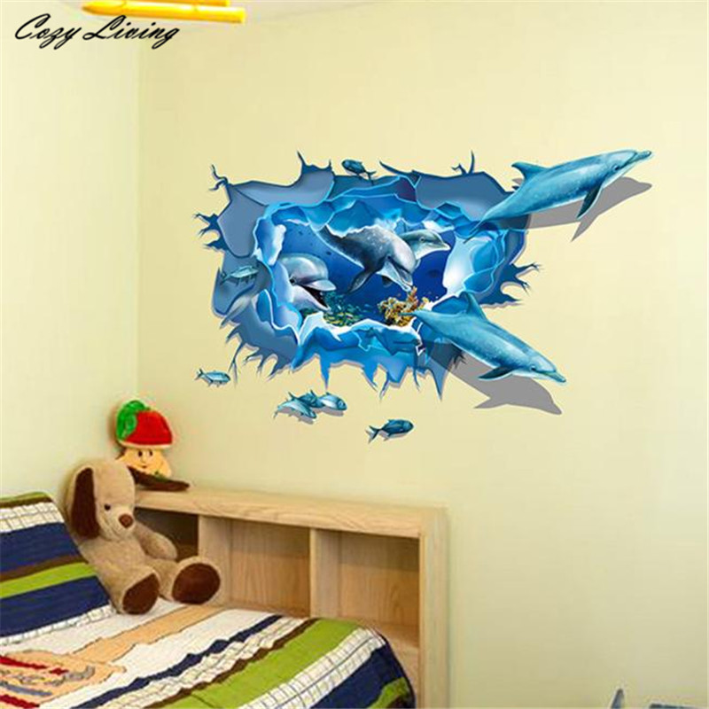 3d Wallpaper Sticker For Kids Room Removable Dolphin 3d Sea Ocean