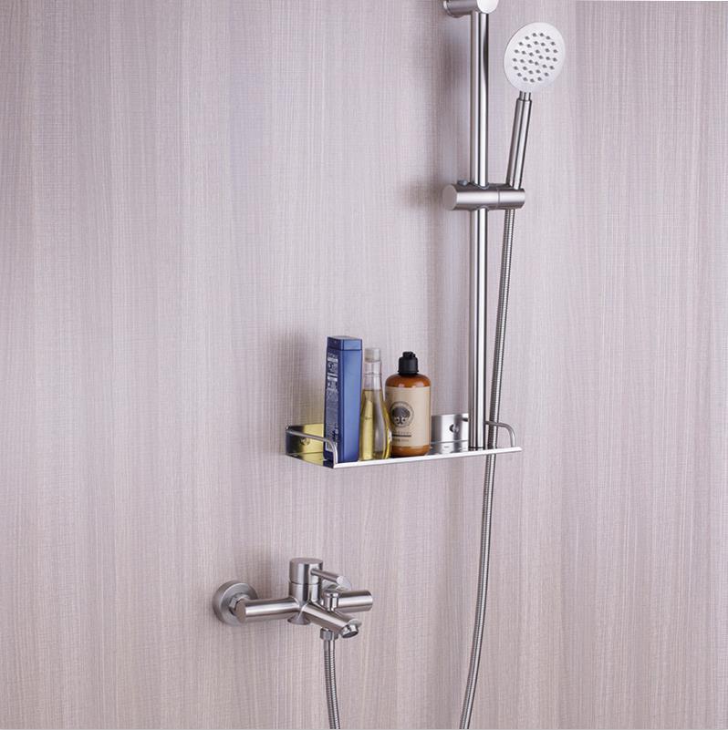 bathroom shower faucet set slide bar has shelf and sprayer water gunbathroom shower faucet set slide bar has shelf and sprayer water gun