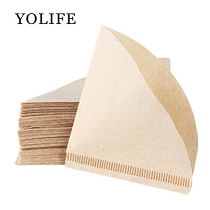 100 Pieces New Wooden Hand V60 Drip Paper Coffee Filter 102 coffee strainer Bag Espresso Tea Infuser Accessories Coffee Filters     - title=