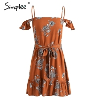 Simplee Vintage Ruffle Print Beach Summer Dress Women Lace Up Backless Sexy Dress Cold Shoulder Flower