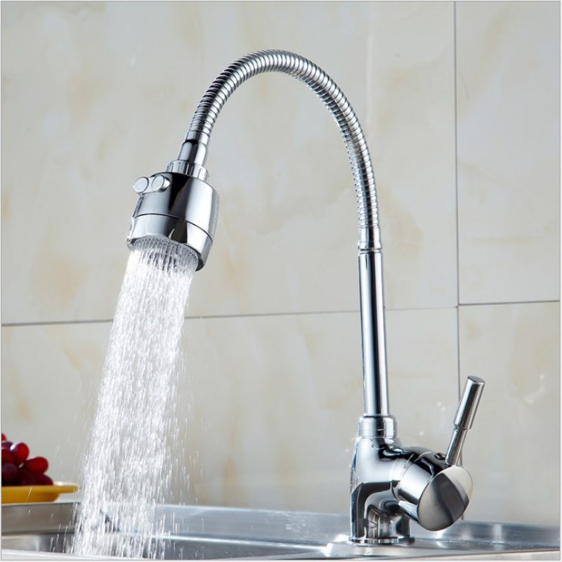 Universal Rotating Tip Three-way Hot and Cold Water Faucet Kitchen Sink Faucet