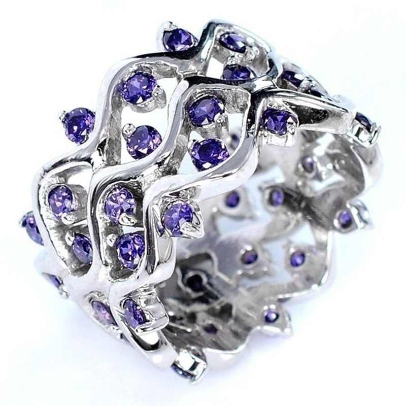 OMHXZJ Groothandel Europese Mode Vrouw Meisje Party Huwelijkscadeau Zilver Paars Wave Amethist 925 Sterling Zilveren Ring RR16