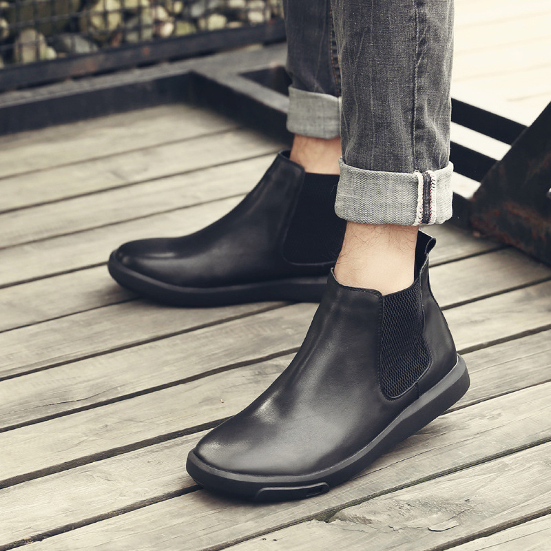 Chelsea Ankle Boots For Men VALLU Latest Stylish Design Male Booties Natural Leather Elastic Band Europe America Style Man Shoes цена 2017