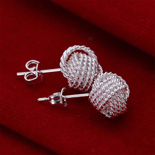 2017 Free Shipping Fashion Silver Earrings For Women Mesh Stud Brinco Girls Jewelry