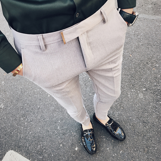 2018 spring new fashion gentleman wind casual pants male street pants cropped wild fashion striped men's trousers