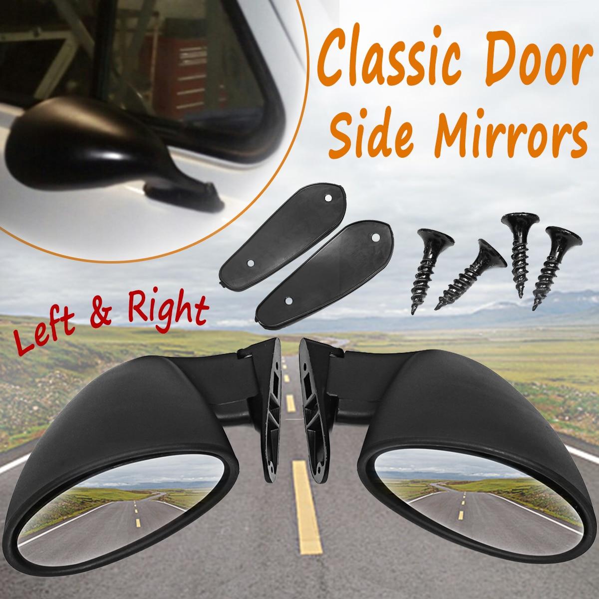 קליפורניה סגנון אוניברסלי רכב קלאסי רטרו דלת כנף צד מראה אחורית בציר מט שחור L + R