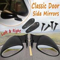 California Style Universal Car Classic Retro Door Wing Side Mirror Rearview Vintage Matte Black L+R