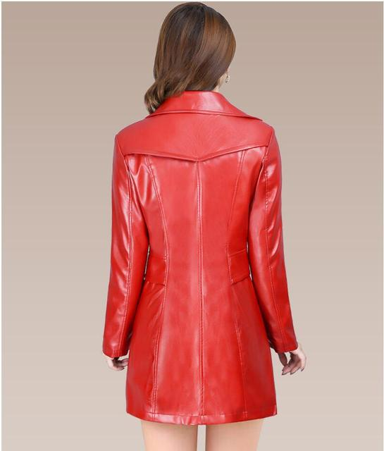 2018 Autumn Winter New Fashion plus size leather Jacket women Leather Jacket Coat women Slim fit long Trench Coat Outwear L-5XL 3