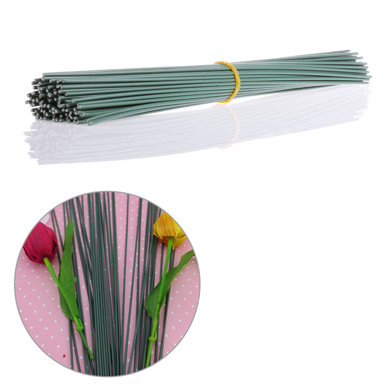A Bundle of 100Pc Artificial Floral Wire Craft Flower Stem Wrap Dark ...