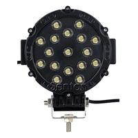 7 Inch 51W 17X 3W Round Epistar LED Work Light 12V Spot For 4WD 4x4 Offroad