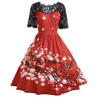Gamiss Women Christmas Lace Panel Father Midi Party Dress Ladies Autumn Vintage Insert Robe Femme Plus