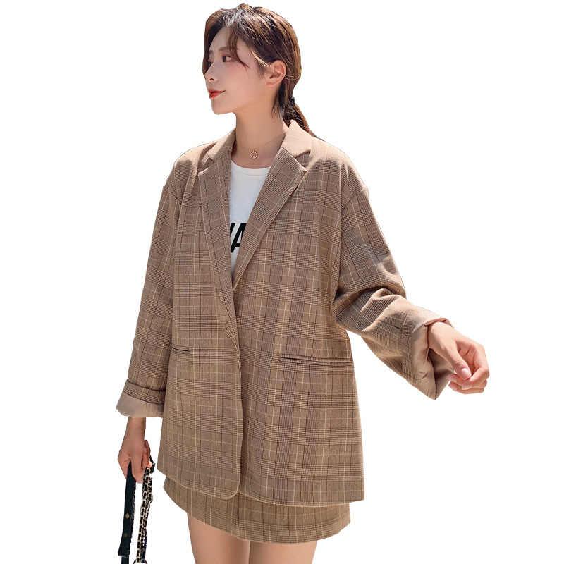 セット女性 2019 夏新女性の韓国語バージョンのチェック柄スモールスーツジャケットカジュアルハーフレングススカートツーピース