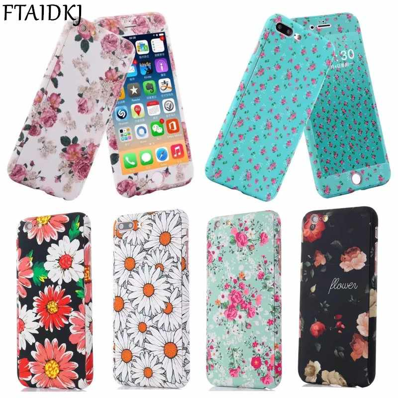 FTAIDKJ For iPhone 7 7 Plus 5S SE 360 Degrees Full Protection Retro Flower Star Rainbow Design Hard Cover Case For iPhone 6 6S