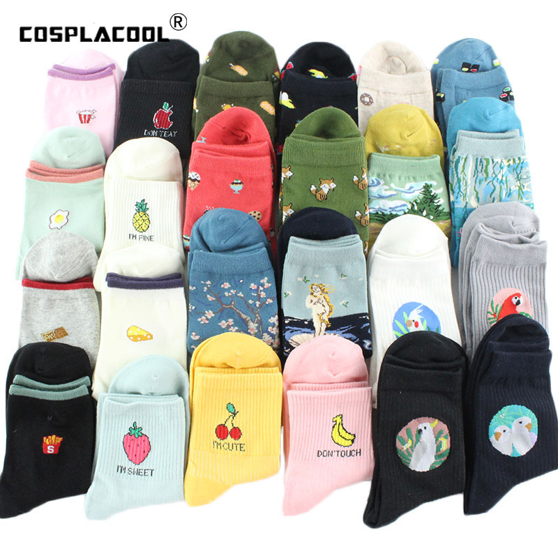 [cosplacool]food Fruit Pineapple Funny Socks Sushi/bird/art Oil Painting Divertidos Characters Socks Women Chaussette Femme