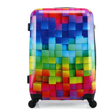 New Men and Women Travel Suitcase Universal Wheels Trolley Luggage Bag Fashion 3D Magic Cube Luggage 20″ 24″ 28″ Rolling Luggage