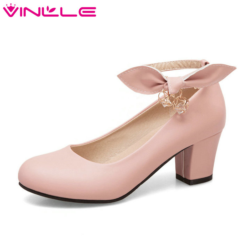 VINLLE Elegant 2018 Women Pumps PU Leather Square Med Heel Ankle Strap Butterfly-Knot Ladies Wedding Shoes Size 34-43 vinlle 2017 women pumps college style square med heel vintage slip on pu leather shoes casual round toe girl shoes size 34 40