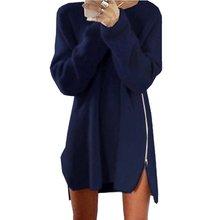 Для женщин с длинным рукавом зимние вязаные Застёжки-молнии сбоку джемпер Джемпер свободная туника Мини-платья