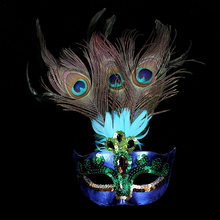 Peacock Feather Masquerade Mask for Carnival Venetian Halloween Prom Half Face Masks Decor Cutout Eye Party Accessories