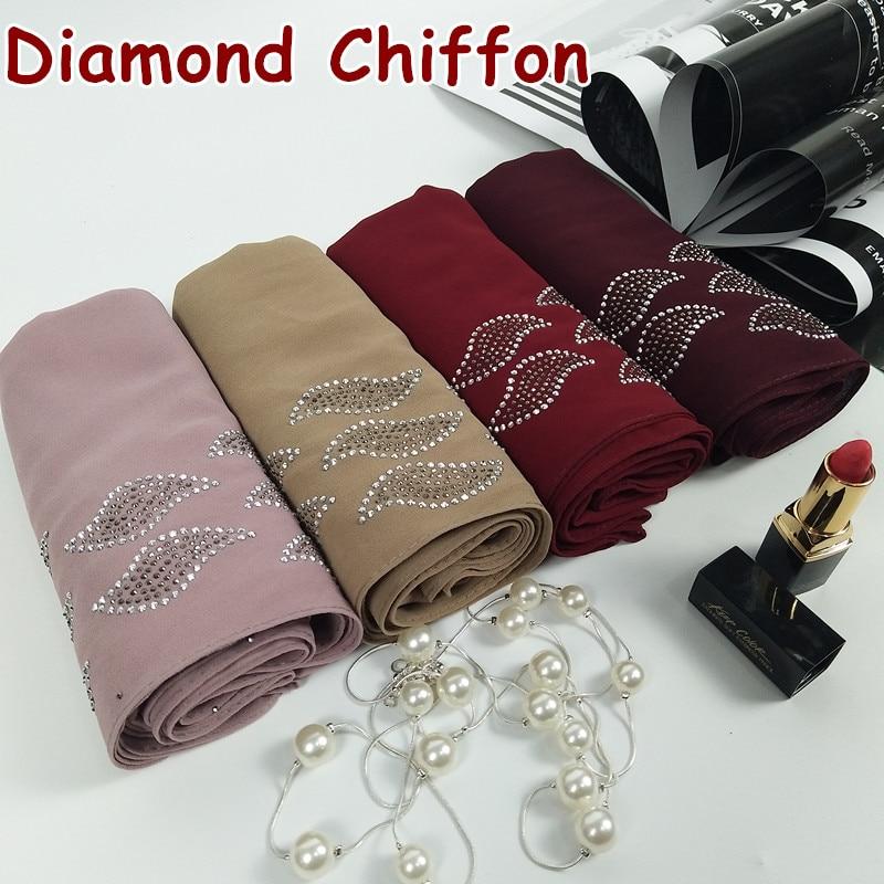 H 3 High quality diamond bubble chiffon hijab   wrap   shawl women   scarf     scarves     wrap   headband 180*75cm bead rainstone shawl