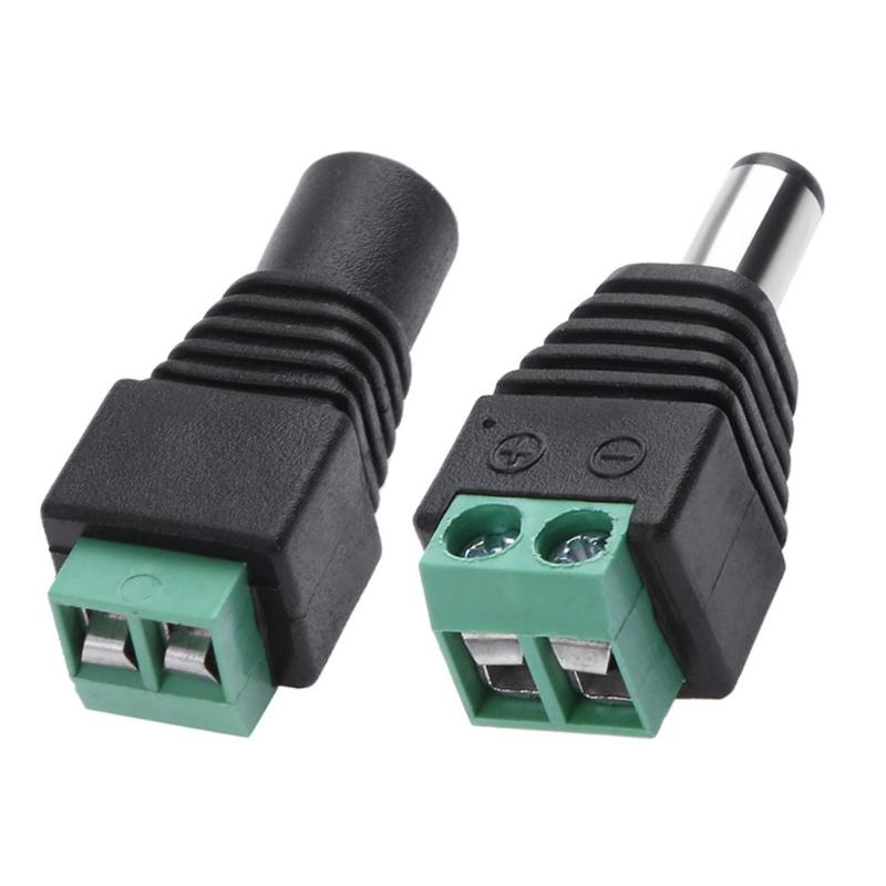 10pcs 2Pin 2.1x5.5mm DC Power Cable Jack Adapter Connector Plugs for LED Strip CCTV Camera