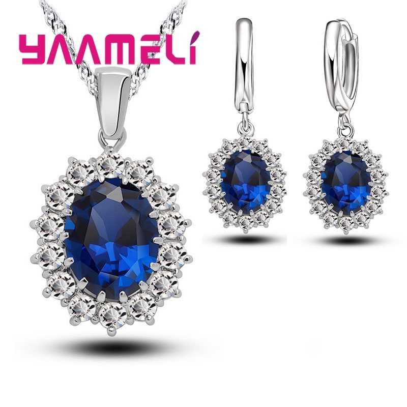 Recommand Wedding Party Accessories 925 Sterling Silver Bridal Jewelry Set Big Blue Oval Cubic Zircon Necklace Earrings