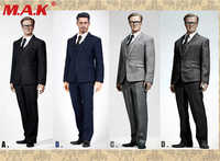 1/6 scale handsome business suit male man boy clothing set with waistcoat and leather shoes for 12' narrow shoulder body figures