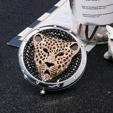 Personalizado gravar, mini espelho cosmético da composição do bolso, maquiagem compacta dobrável do espelho da ampliação, presente dos favores da festa, leopardo do tigre