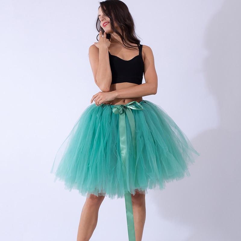 2020 Puffy Midi Knee Length Adult Tutu Marsala Tulle Skirt High Waist Women Underskirt Wedding Bridal Skirt Lolita Faldas Saias
