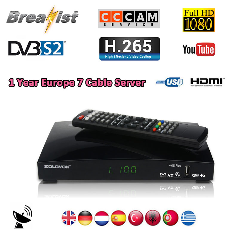 SOLOVOX V8S Plus DVB S2 Digital Satellite Receiver support USB wifi 4k H.265 HDMI 1080P Biss key M3U YOUPORN Cccam NEWCAMD