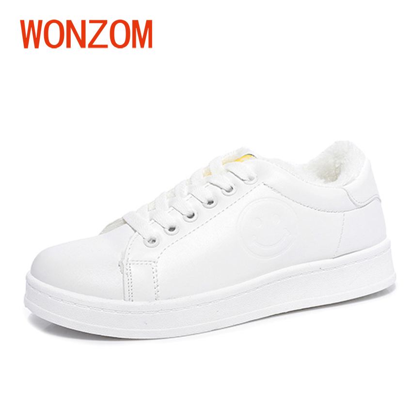 WONZOM Winter New Arrival Brand Female Warm Fur Plush Snow Shoes 2018 Women Fashion Waterproof Casual Flats Shoes High Quality new 2017 hats for women mix color cotton unisex men winter women fashion hip hop knitted warm hat female beanies cap6a03
