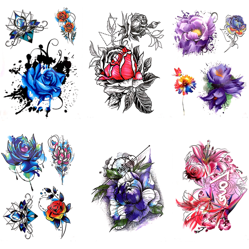 Image 5 - DIY Body Art Temporary Tattoo Colorful Dreamcatcher Swallow Watercolor Painting Drawing Decal Waterproof Tattoos Sticker-in Temporary Tattoos from Beauty & Health