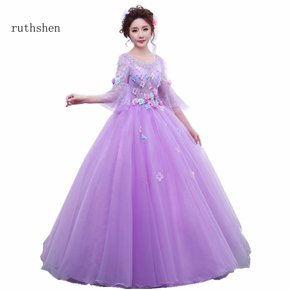 ruthshen Cheap Long Sleeves Quinceanera Dresses Purple Ball Gowns ...
