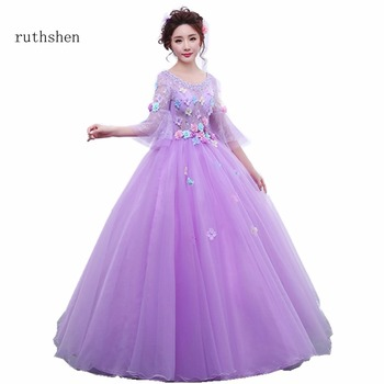 ruthshen Cheap Long Sleeves Quinceanera Dresses Purple Ball Gowns Flowers Sequins Sweet 16 Dresses For Girls Special Prom Party