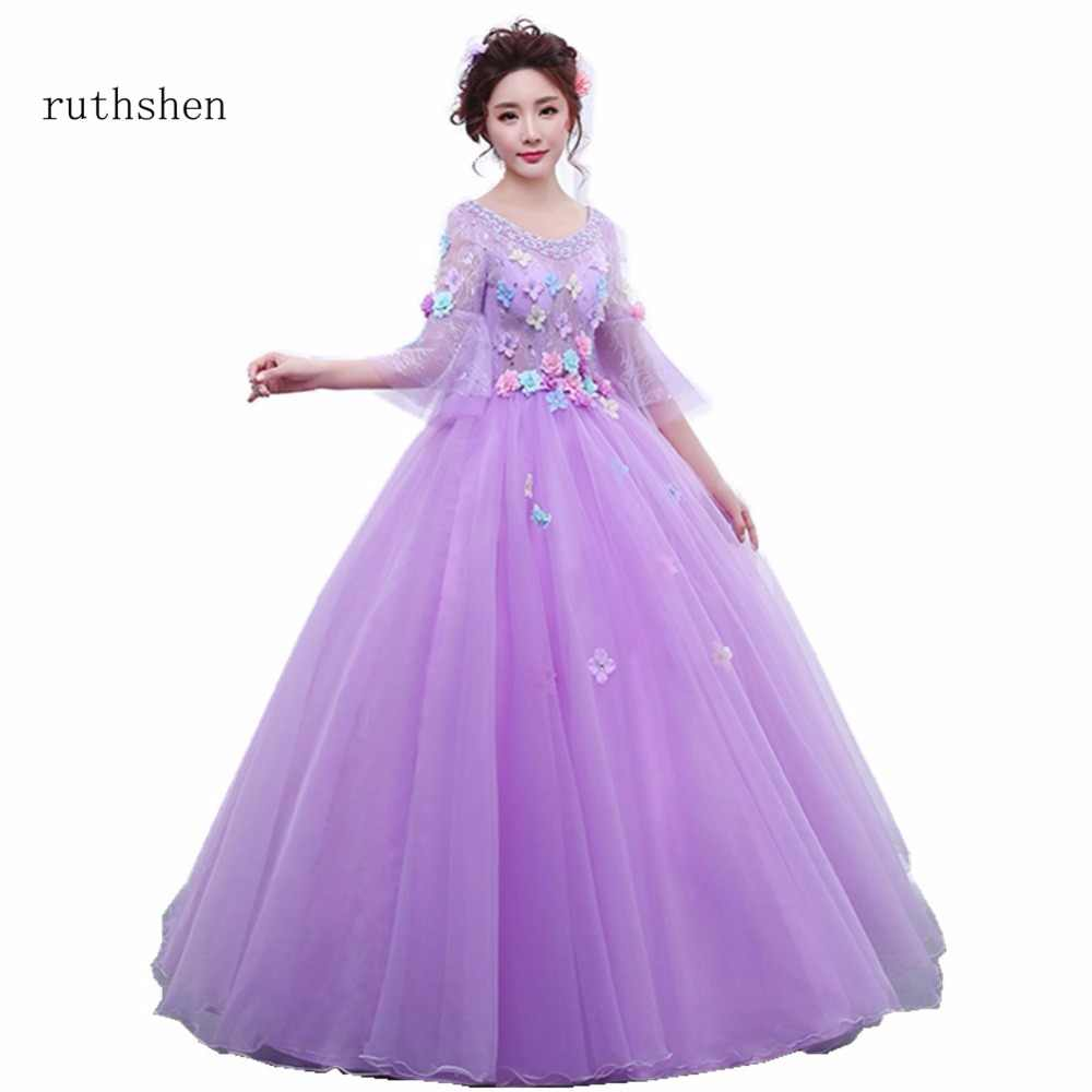 0f558d7f224 ruthshen Cheap Long Sleeves Quinceanera Dresses Purple Ball Gowns Flowers  Sequins Sweet 16 Dresses For Girls