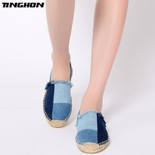 TINGHON Fashion Women Ladies Espadrille Shoes Canvas Patchwork Blue Rome Ankle Strap Hemps Flats