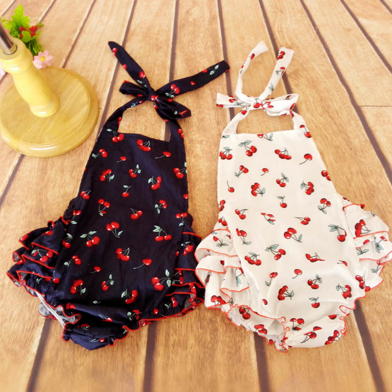 da7e625e8057 Summer Cotton Baby Rompers Infant Toddler Jumpsuit Lovely cherry sleeveless  Baby Girl Clothing Newborn Overall Clothes-in Clothing Sets from Mother    Kids ...