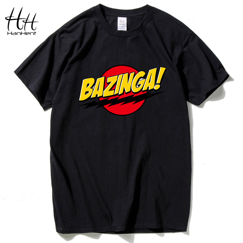 HanHent The Big Bang Theory T-shirt BAZINGA 2018 Cotton Short sleeve Shirt Funny T shirt Letter Print Tshirt Camisas