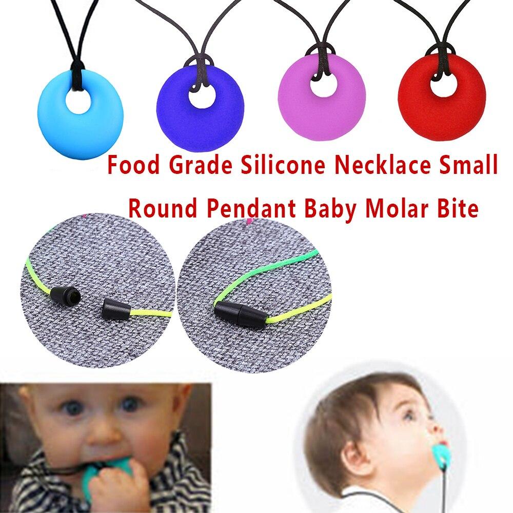 Уход за зубами, детское ожерелье, прорезыватель для зубов, игрушка, милый безопасный кулон для мамы, пищевой силикон, 4 цвета, Круглый, для мам, для тренировок