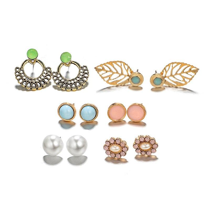 New Fashion Charm Bohemian 6pcs set Luxury Round Stud Earrings For Women Geometric Stone Earrings Set Jewelry Pendientes 2019 in Stud Earrings from Jewelry Accessories