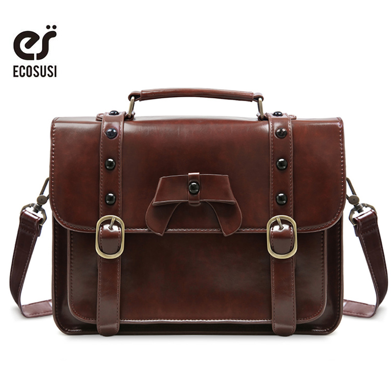 Ecosusi Women Messenger Bags Stylish PU Leather Shoulder Bags Casual Vintage Handbag for Girls School Satchel Bag for Teenagers ecosusi new fashion women pu leather handbags vintage pu leather messenger bags shoulder school laptop messenger bags tote bag
