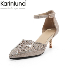 karinluna large size 34-45 cut outs pointed toe women shoes woman elegant comfotable thin heels summer party sandals woman(China)