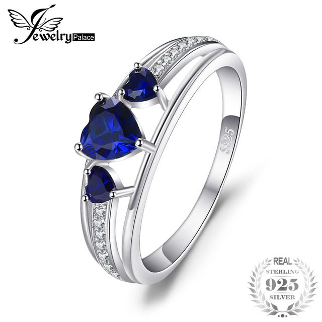 JewelryPalace Classical 0.23ct Created Sapphire Engagement Band Ring 925 Sterling Silver WE0WmZm